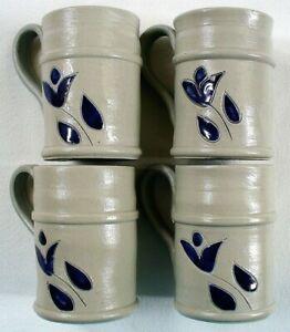 "4~NEW~Williamsburg Pottery~SALT GLAZE~Mini 3.5""~Mugs~GRAY&COBALT BLUE~Stoneware"