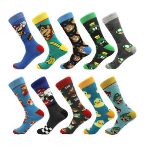 Mens Cotton Socks Funny Super Mario Cartoon Ducks Novelty Dress Socks For Gifts