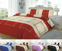CAMPUS Checked LINEAR DUVET QUILT COVER BEDDING SET SINGLE DOUBLE KING S/KING