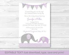 Purple Elephant Chevron Mom & Baby Printable Baby Shower Invitation Editable PDF