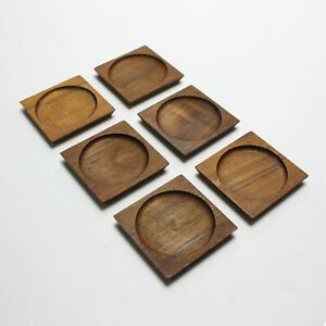 Set of 6 Danish Teak Drink Glass Coasters 1950s 1960s Mid-Century Modern Barware