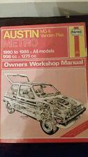 AUSTIN MG METRO INC VANDEN PLAS 1980 TO 1985 998cc 1275cc HAYNES MANUAL 718 USED