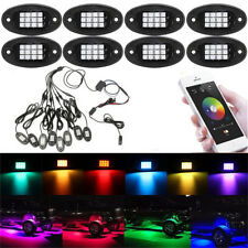 8x RGB LED Rock Light Wireless Bluetooth APP Control Under Body Car Offroad Lamp