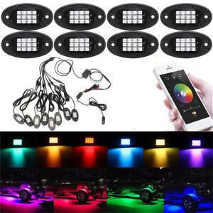 8x RGB LED Rock Light Wireless Bluetooth APP Control Under Body Car Offroad Lamp