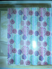 """PINK & BLUE LARGE FLORAL THEMED FABRIC SHOWER CURTAIN ,  72"""" W X 72"""" L, NEW"""
