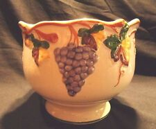 LOVELY,HAND CRAFTED & PAINTED, PORTUGUESE POTTERY LARGE CACHEPOT, GRAPES & VINES