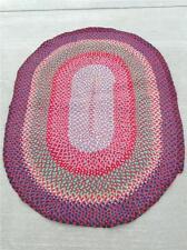 """Vintage Oval  Braided Rug. Measures 53"""" x 39"""".  RED (Rug 73)"""
