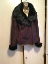 Ladies,size large.(Approx 14-16) Tu,brown faux suede jacket.Faux fur lined.New
