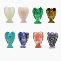 35mm Natural Stone Carved Crystal Guardian Reiki Healing Angel Figurines 1pc