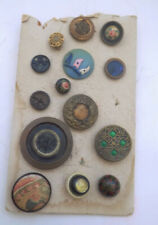 Vintage Card of Vintage Shank Buttons Celluloid Metal Fancy 14 Buttons