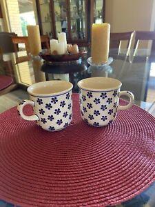 Set Of 2 Hand Made Polish Pottery Mugs Boleslawic