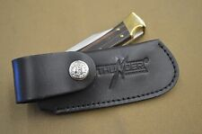 BUCK 112 CUSTOM HAND BUILT BLACK LEATHER FOLDING KNIFE SHEATH NICE FIT