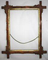 """Antique Adirondack Black Forest Leaf Carved Frame Tramp Art Fits 14""""x10"""" picture"""