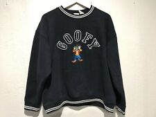 Disney Store Goofy Sweatshirt Black Pullover Crew Neck Embroidered Size L