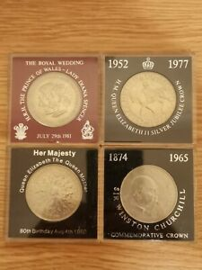 Four Commemorative Crown Coins Including 1981 Diana and Charles