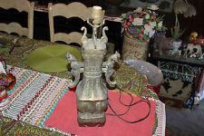 Antique Chinese Temple Lidded Jar Vase Converted Lamp-#2-Brass Bronze-Cat Handle