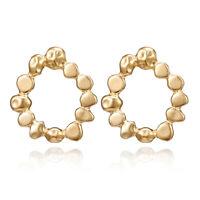 1X(Einfache Durchbrochene Runde Runde Metall Gold Ohr Stecker Ohrringe P2S4) 2A