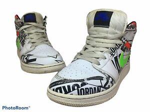 Nike Air Jordan 1 Mid All Over Logos GS Grade School Size 5.5Y 554725 143