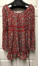 Band of Gypsies Bell Sleeve Boho Swing Baby Doll Dress Sz M Floral