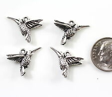 Hummingbird Charms, TierraCast Charms, Fine Silver Plated Pewter, 4 Pcs, 2012