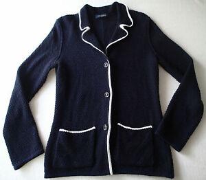 PIAZZA SEMPIONE  BLAZER, Ladies Jacket,sz 48,cotton,knit navy blue white