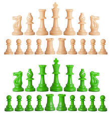 Staunton Single Weight Chess Pieces - 34 Natural Tan & Neon Green - 4 Queens