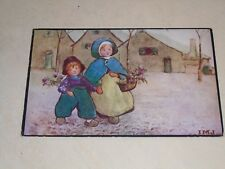 EARLY 1914 IVY MILLICENT JAMES  PC -  YOUNG CHILDREN WITH FLOWERS - C W FAULKNER