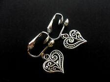 A PAIR OF  TIBETAN SILVER DANGLY HEART CLIP ON EARRINGS. NEW.