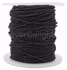 Ball Chain Spool - 30 Feet - Dark Black Color - 1.5mm Ball - 10 Yards Bulk