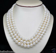 """Natural 3-Strand 6-7MM AAA White Pearl Necklaces (16""""17""""18"""" )"""