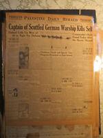 Graf Spee German Battleship Captain Scuttled Ship Kills Self 1939 Newspaper WWII