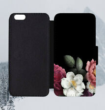 Black Dark Floral Design Art Leather Flip Wallet Case for iPhone Samsung Huawei