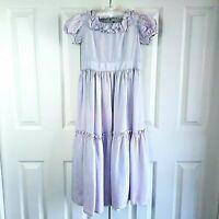 Vintage Girls Formal Dress 50's Purple Party Flower Girl Ruffled Dress Size 6/7