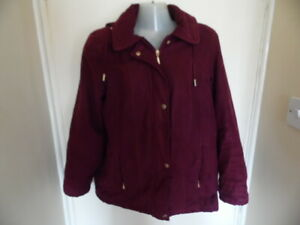 Ladies Claret Long Sleeve, Collared, Hooded Coat with Zip Pockets Size 12