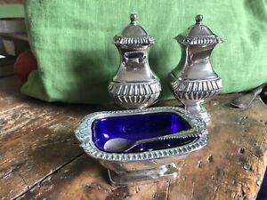 Vintage silver plate 3 piece CONDIMENT SET