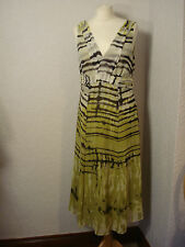 Per Una olive green & brown patterned chiffon dress 14