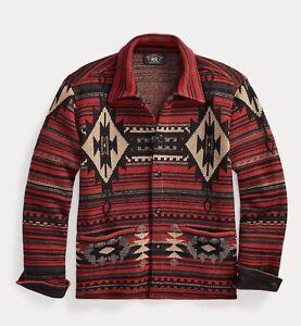 $990 RRL Ralph Lauren Southwestern Wool Silk Blend Work Shirt Sweater- XL