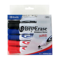 Bazic Low Odor Dry-Erase Whiteboard Markers, Chisel Tip, Assorted, Pack of 12