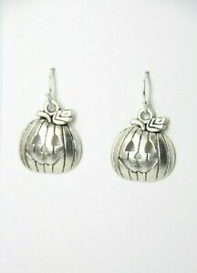 Pumpkin Charm Earrings Halloween .925 sterling silver hooks pewter Charms Jack