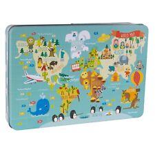 Apli Kids - 24 Piece World Map Puzzle in Metal Box, Children gift