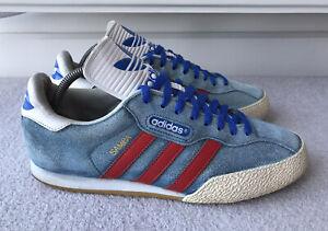 Adidas Rare Mens Samba Super 2012 Suede Trainers Blue Red Size UK 9.5 EU 44