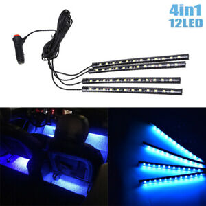 12 LED Ice Blue Car Interior Accessories Floor Decorative Atmosphere Lamp Lights