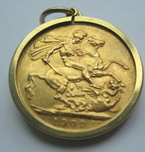 1909 Edward VII Full Gold Sovereign In Gold Surround