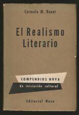 Carmelo M Bonet Book El Realismo Literario 1948 1º Ed Nova