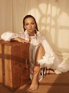$1090 Cecilie Bahnsen AUTH Pintucked Poplin Macy Flouncy White Dress 2 UK6