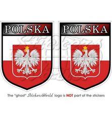 "POLAND Polish POLSKA Shield 3""(75mm) Vinyl Bumper Stickers-Decals x2"