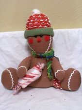 STUFFED SITTING GINGERBREAD WITH CANDY MINT HOLIDAY CHRISTMAS DECORATION