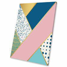 Pink Blue Gold Geometric Abstract Canvas Wall Art Large Picture Prints