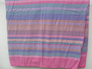 Vintage 1970s hippy boho pink green blue striped throw counterpane cover