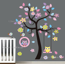 Extra Large Owls Flower Tree Wall Stickers Decal Art Children Kids Room Decor